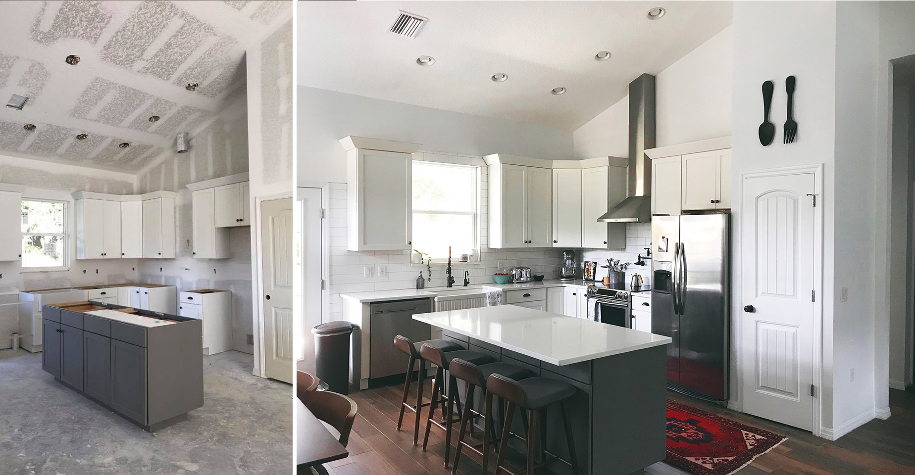 This is the gorgeous and very nicely decorated kitchen in the home above. The owners absolutely love their new space. They're great cooks too ;)